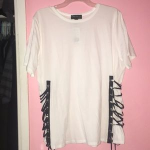 Trendy White top with lace up sides